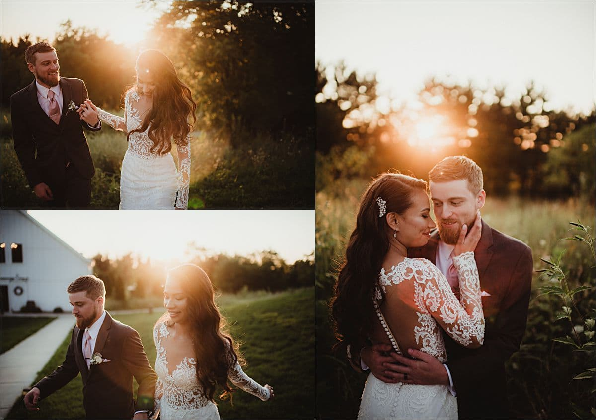 Bride and Groom at Sunset Snuggling