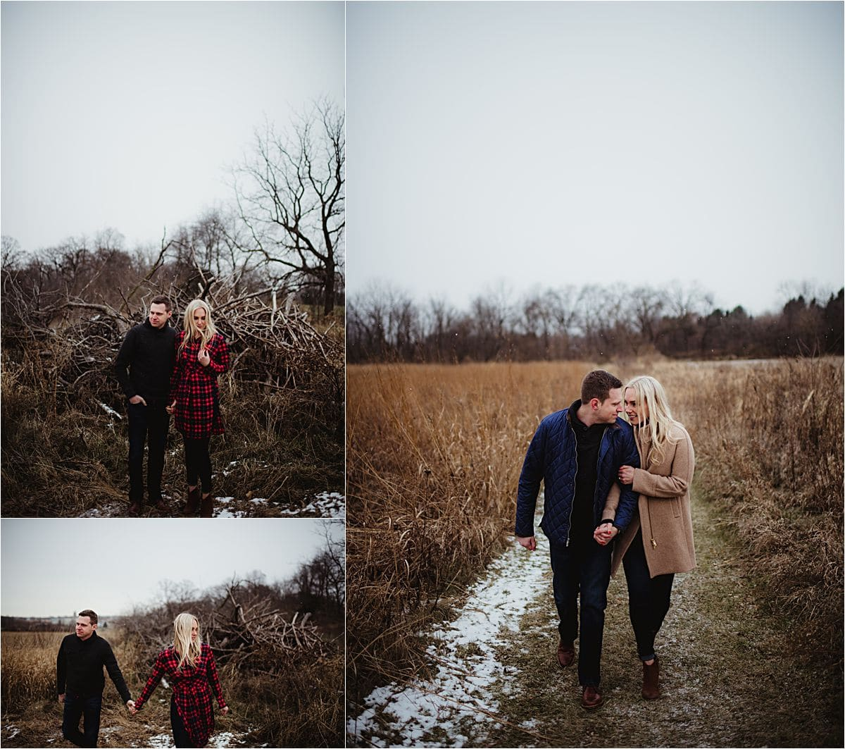 Snowy Engagement Session Couple on Path