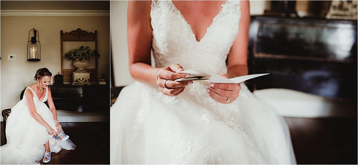 Bride in Dress Reading Letter
