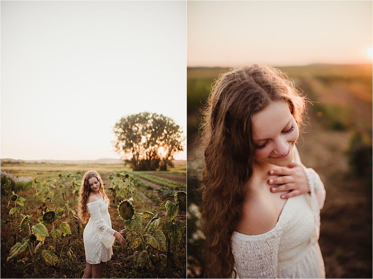 Girl in White Dress Standing in Field