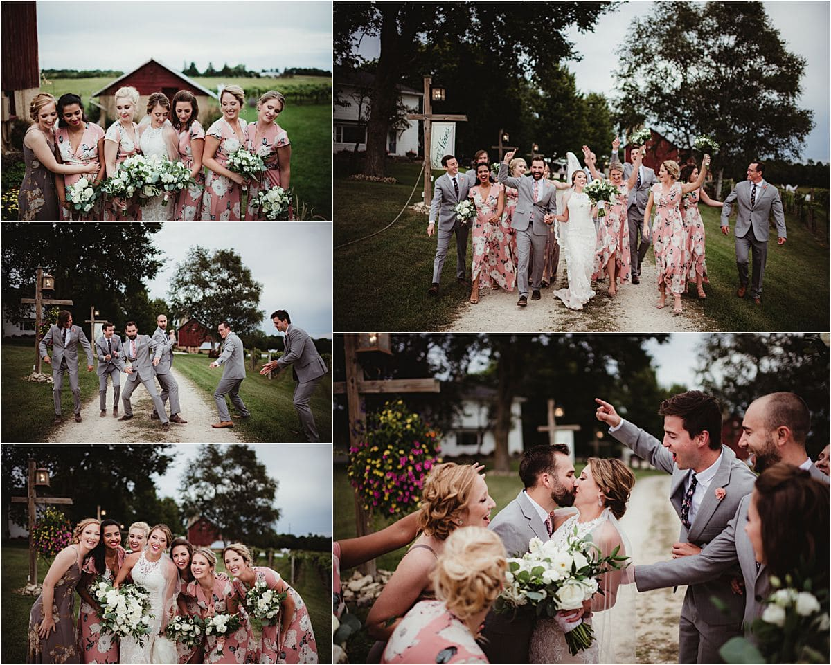 Over the Vines Wedding Party Outside