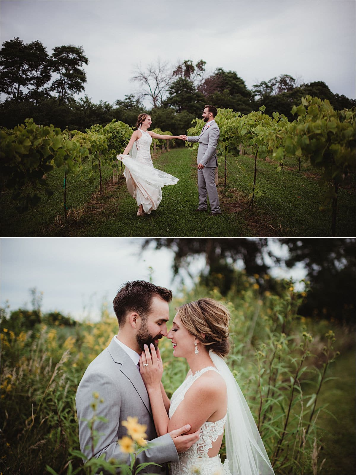 Couple Snuggling and Dancing in Field