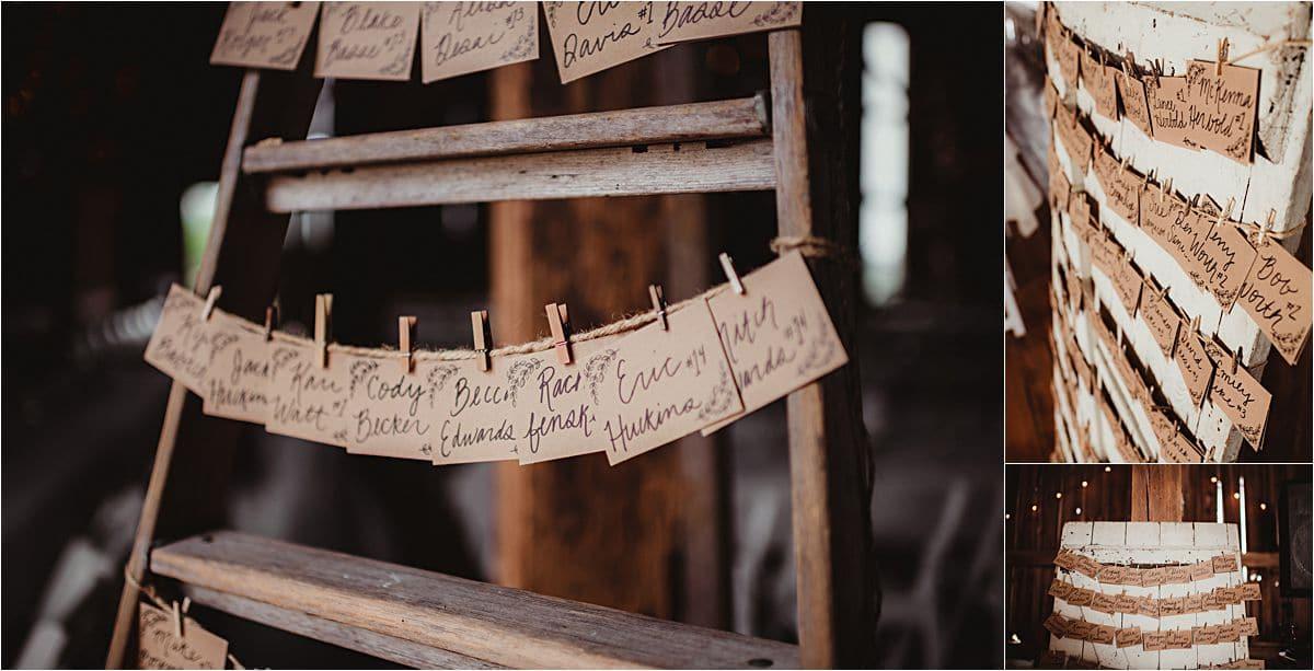 Summer Vineyard Wedding Reception Place Cards