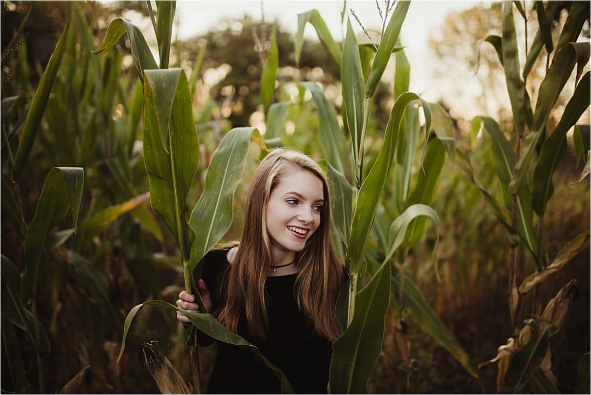 High School Senior Girl in Corn Field