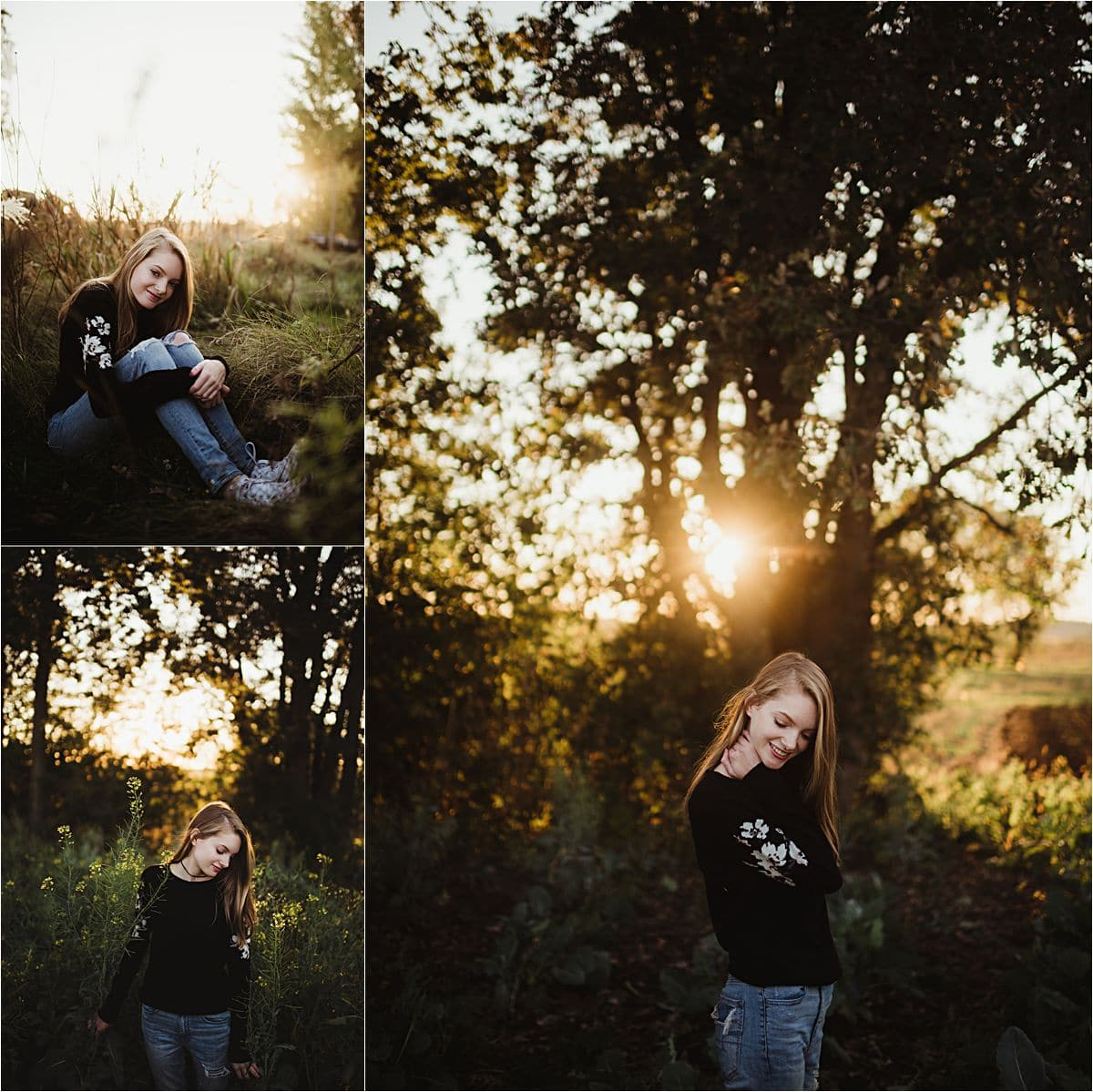 Girl at Sunset Standing by Tree