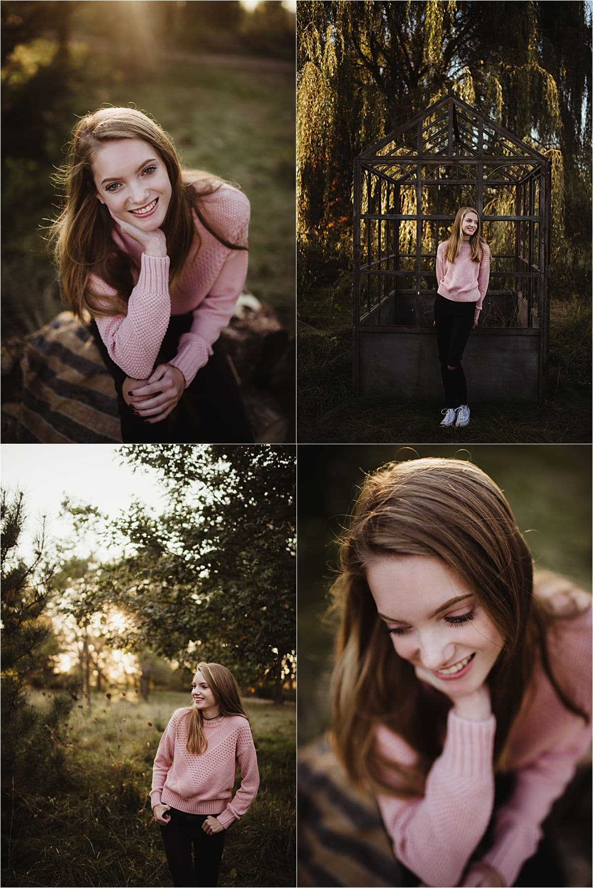 Senior Girl in Pink Sweater Outside
