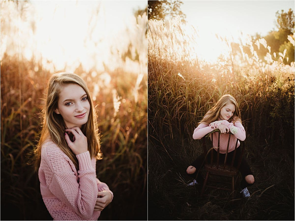 Senior Girl in Pink Sweater in Field