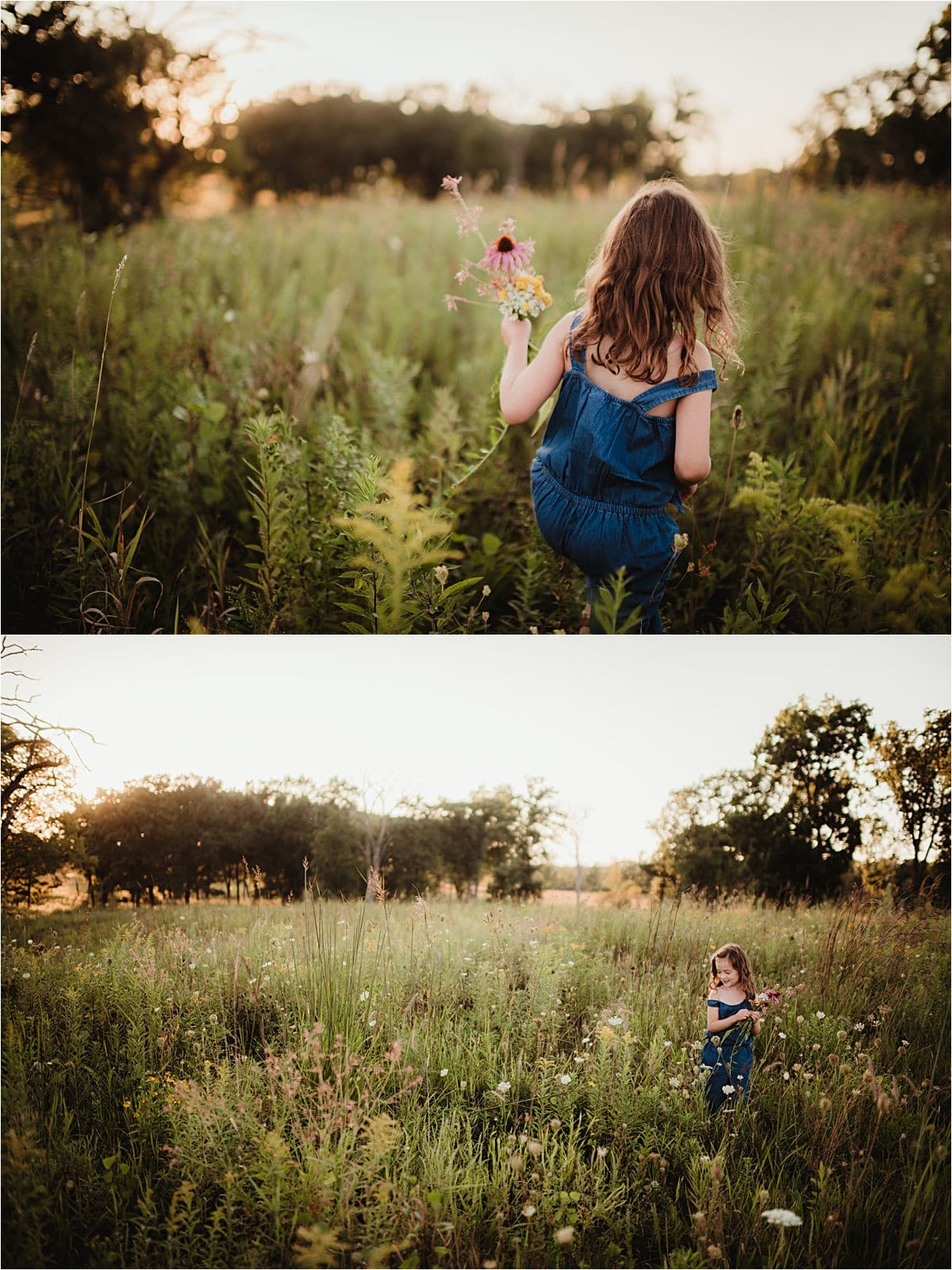 Girl Running Through Flower Field