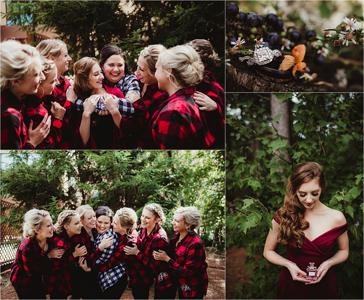 Fall Outdoor Wedding Bride and Bridesmaids Getting Ready