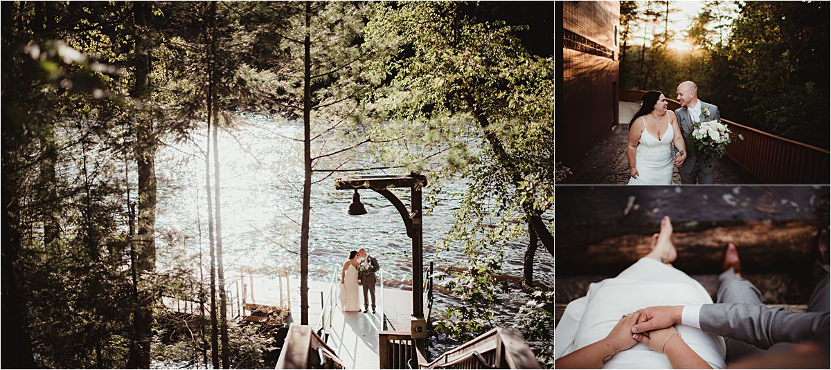 Fall Outdoor Wedding Couple By Water