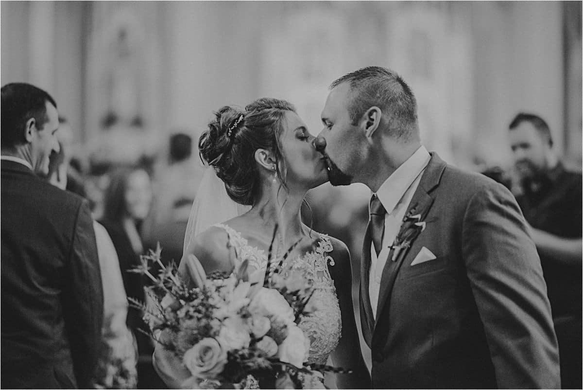 Bride and Groom Kiss Wedding