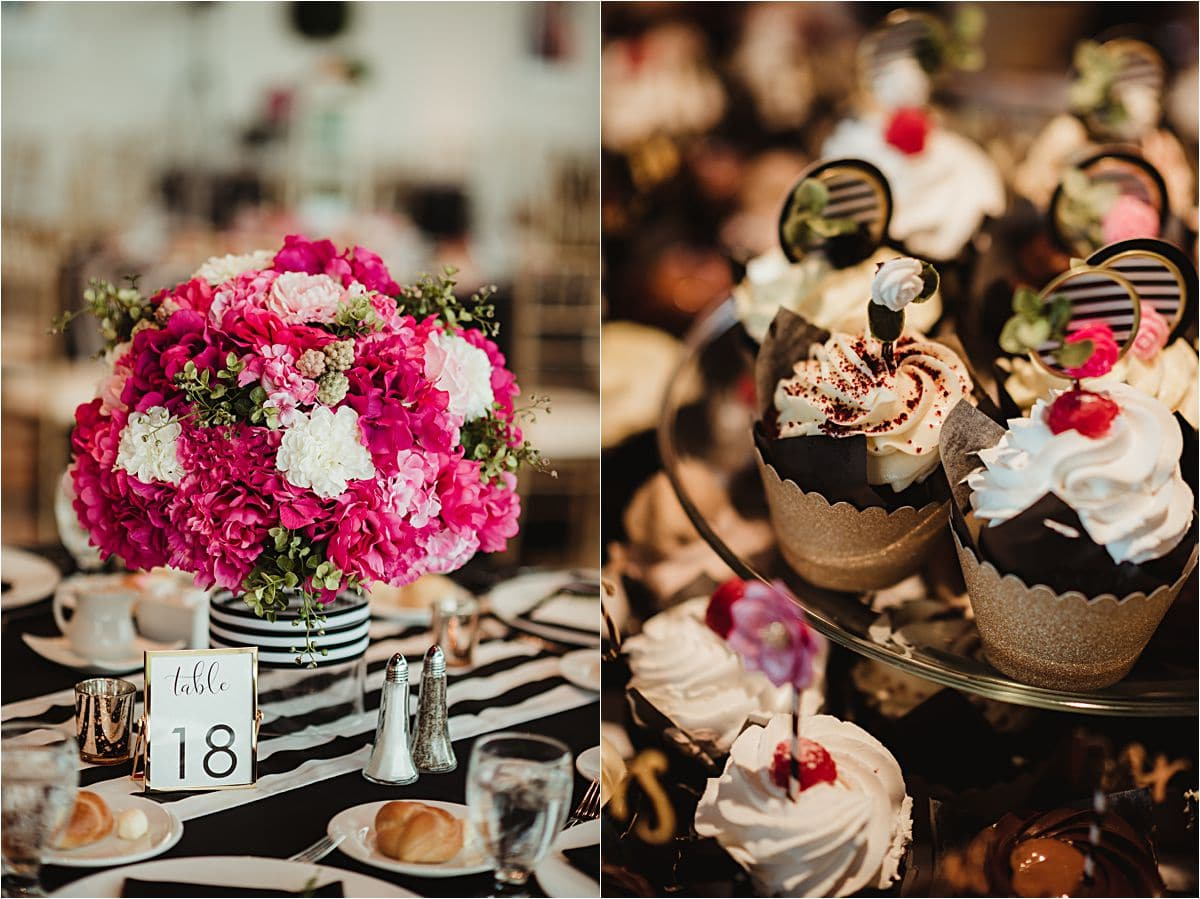 Reception Centerpiece and Cupcakes