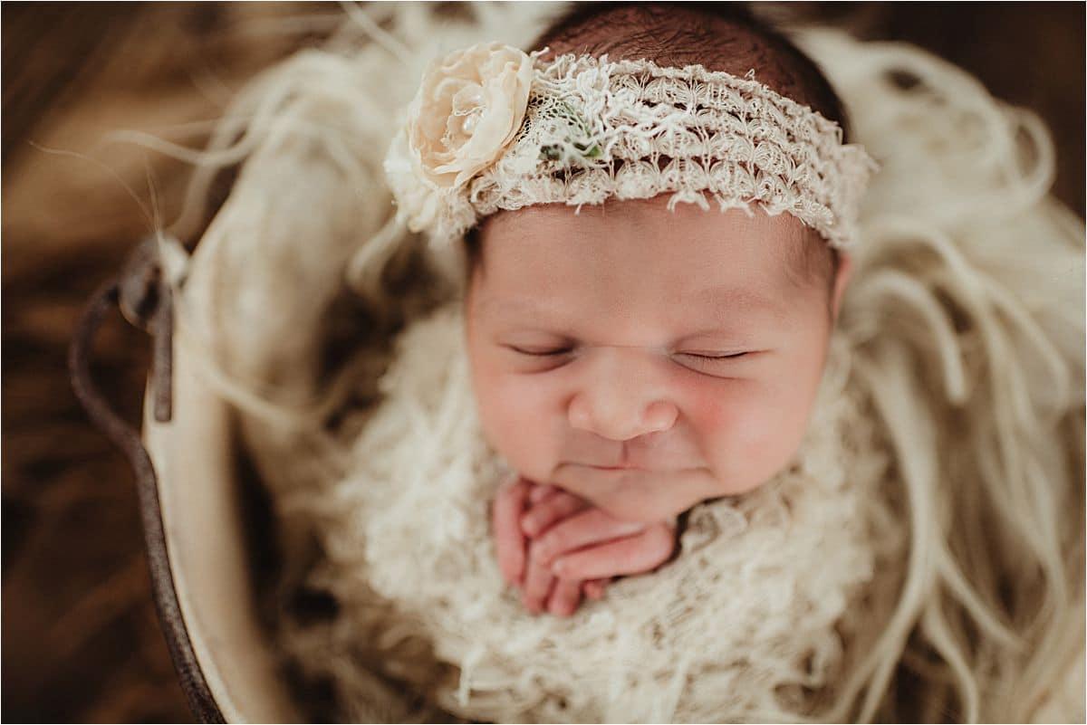 Newborn Girl in Bucket Pose