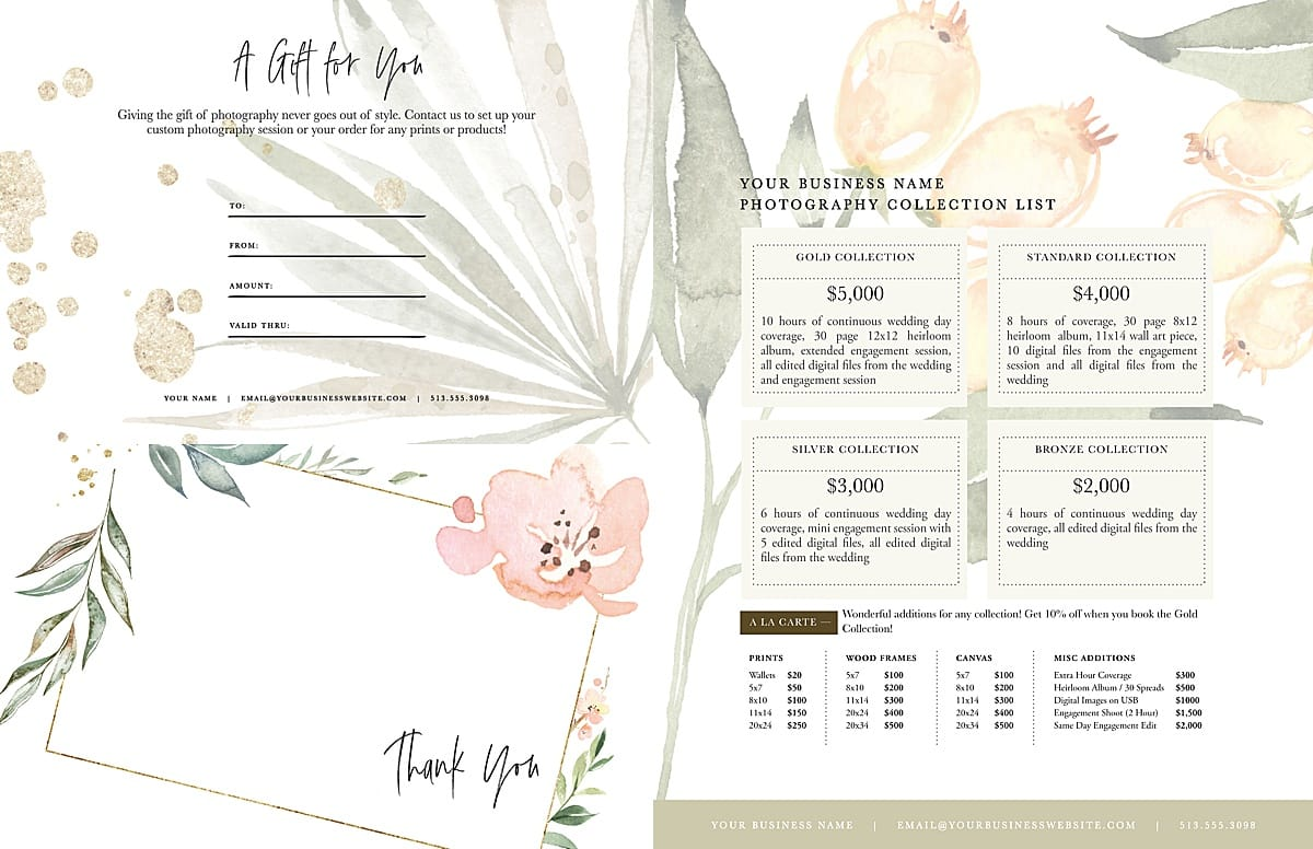 watercolor floral photography branding