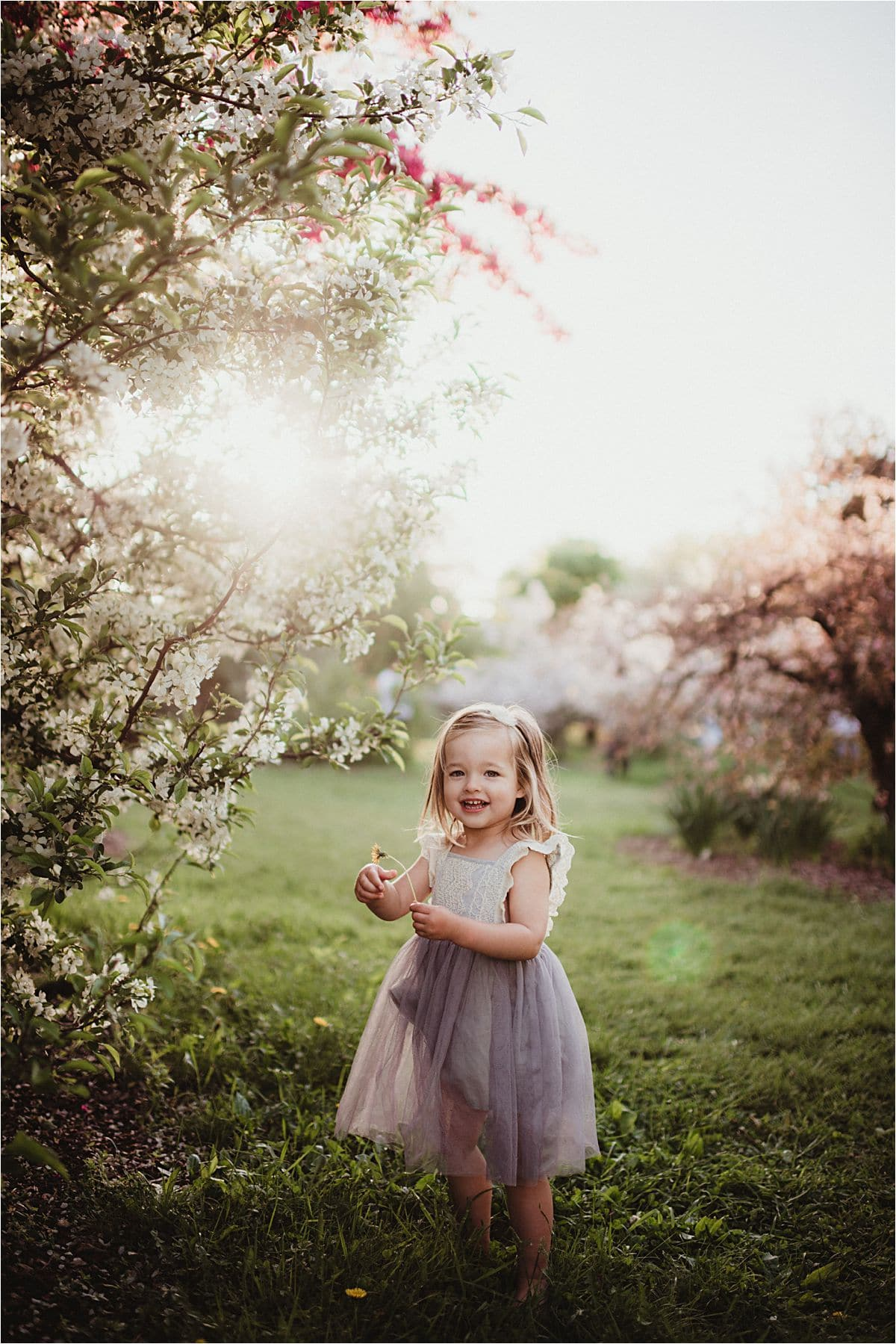 Little Girl Near Lilac Tree
