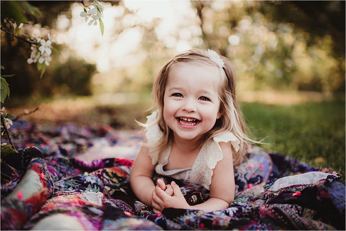 Little Girl on Quilt