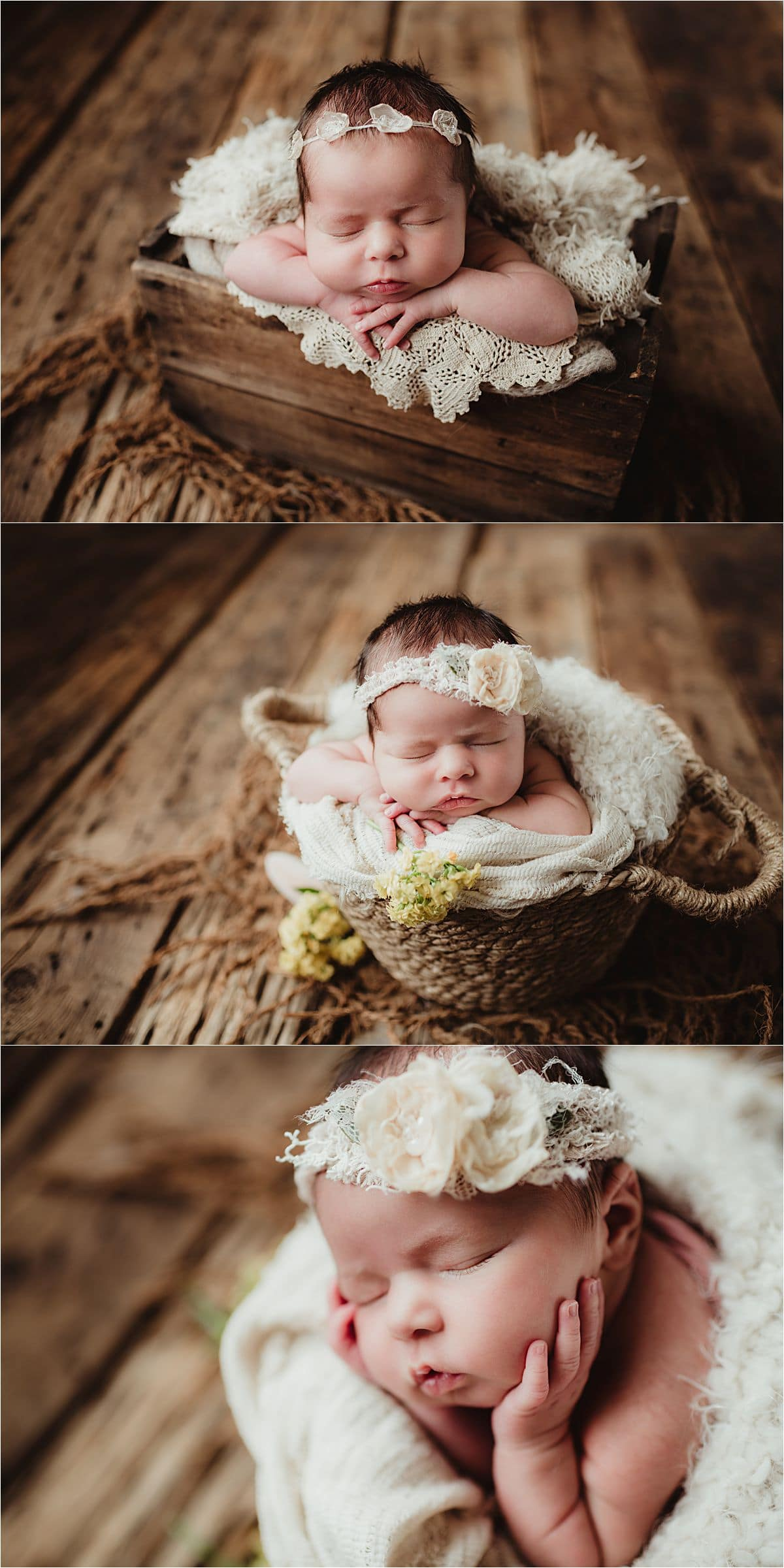Three image Newborn Girl Neutrals