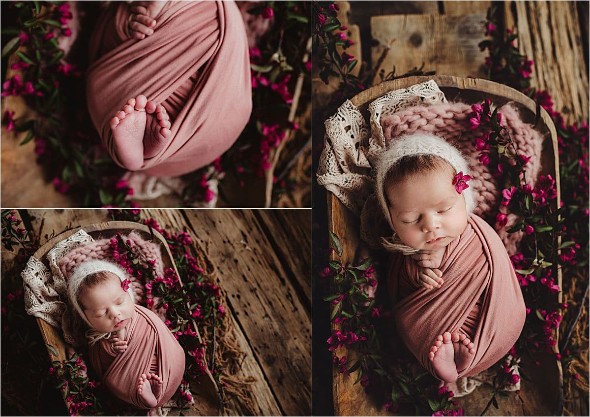 Floral Newborn Session Pink Flowers