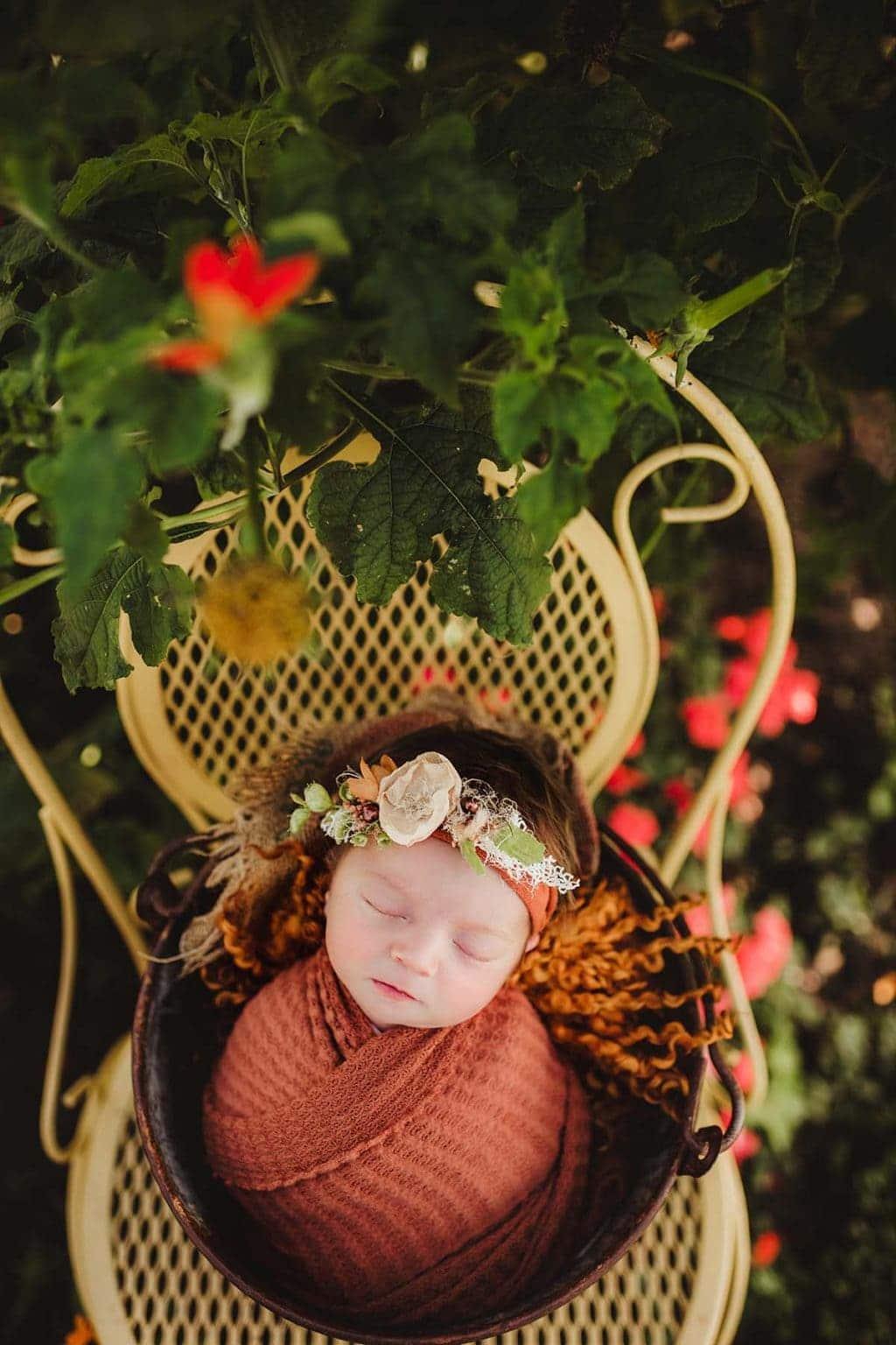 newborn baby outdoor shoot