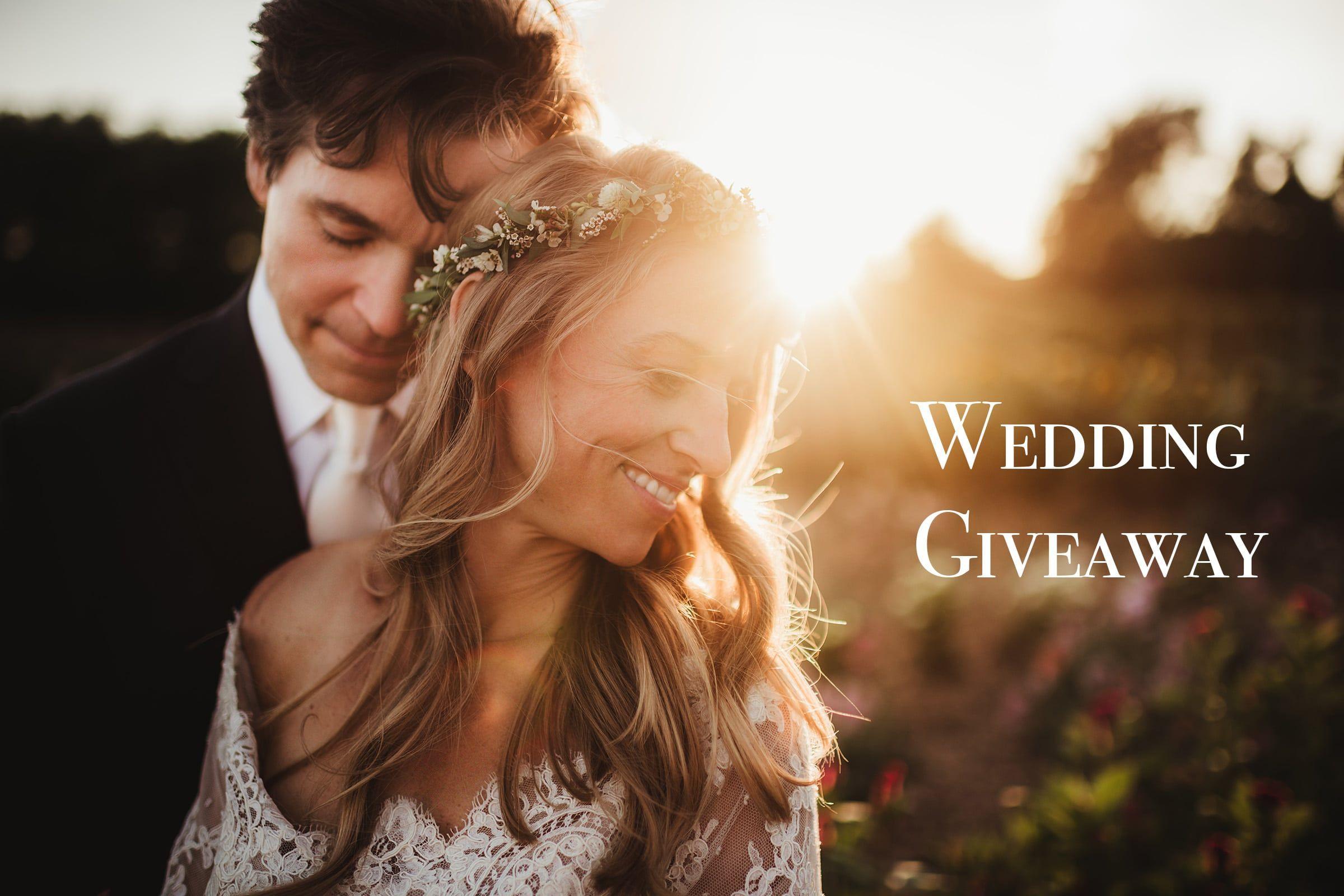 Wedding Giveaway Bride Groom Sunset