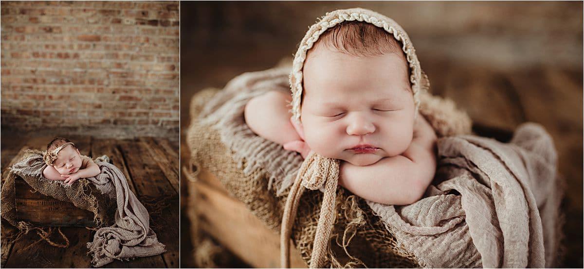 Newborn Girl in Neutral Bonnet