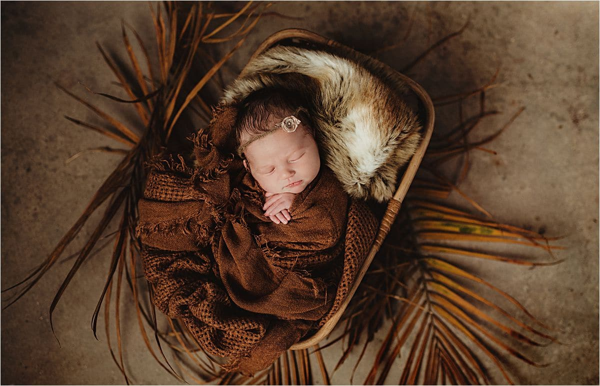 Newborn Girl in Basket on Palm Leaves