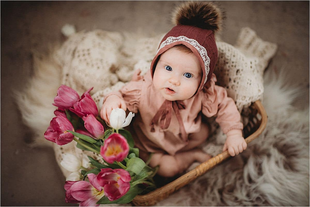 Baby Girl in Hat With Flowers
