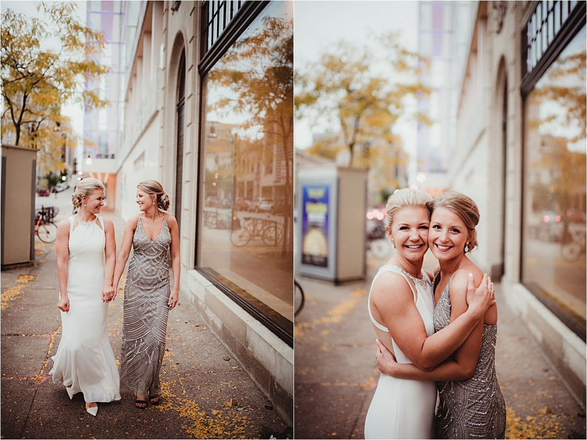 Urban Fall Wedding Bride with Sister Outside