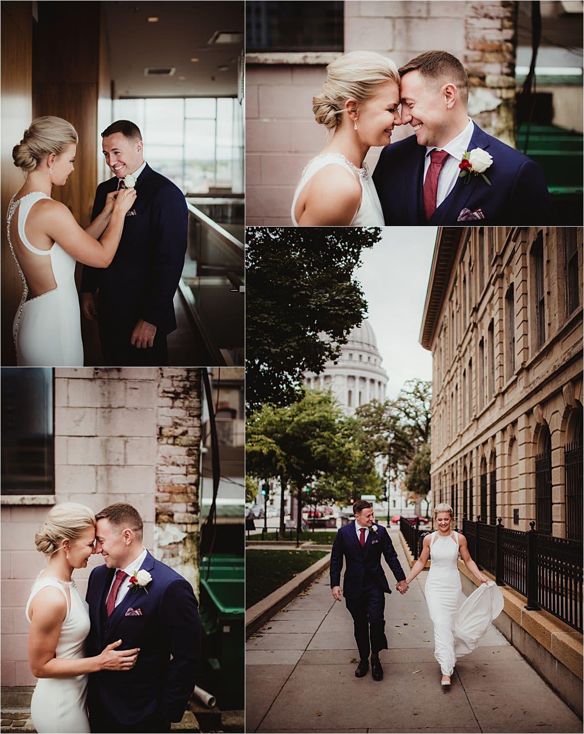 Urban Fall Wedding Bride and Groom Portraits