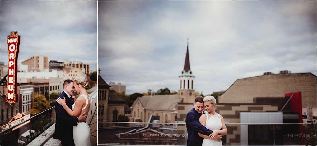 Urban Fall Wedding Bride and Groom on Rooftop