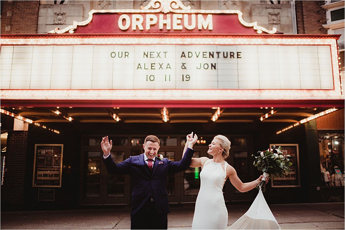 Urban Fall Wedding Bride and Groom Outside Orpheum Theater