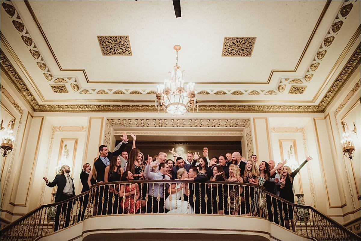Group Wedding Photo on Staircase
