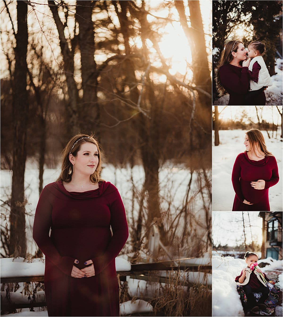 Winter Family Maternity Session in Snow
