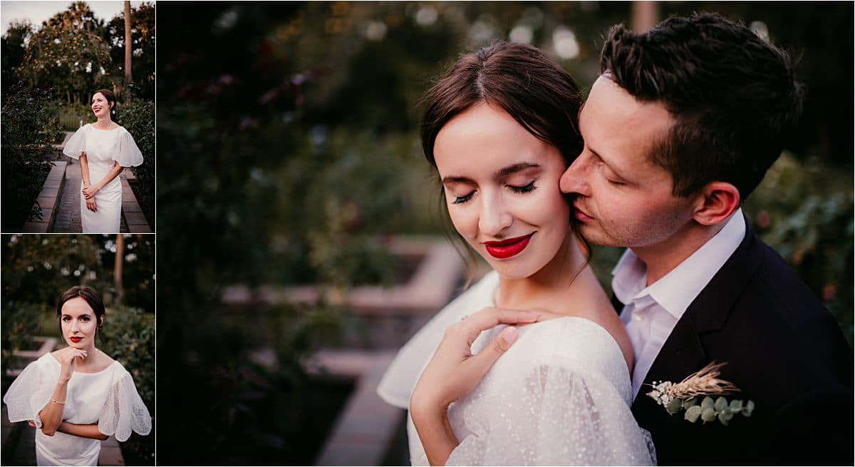 Styled Wedding Shoot Close Up Groom Snuggling Bride