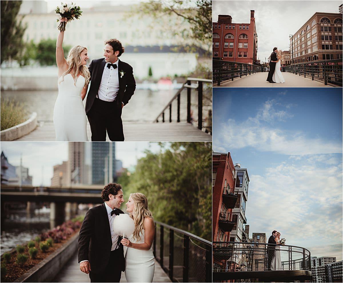 Downtown Milwaukee Wedding Couple Portraits