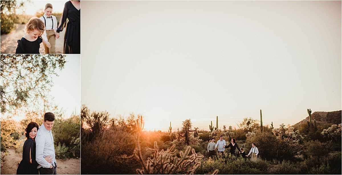 Family at Sunset in Desert