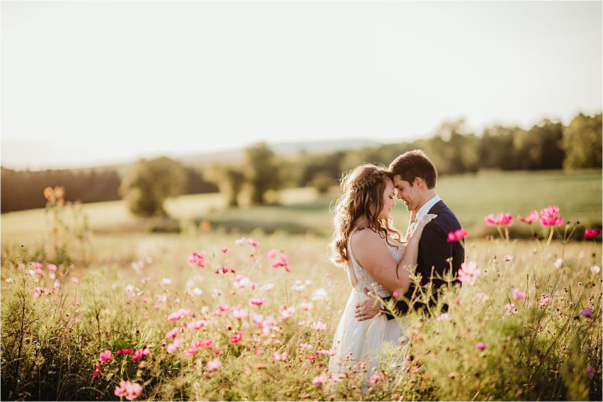 Bride and Groom in Flower Field