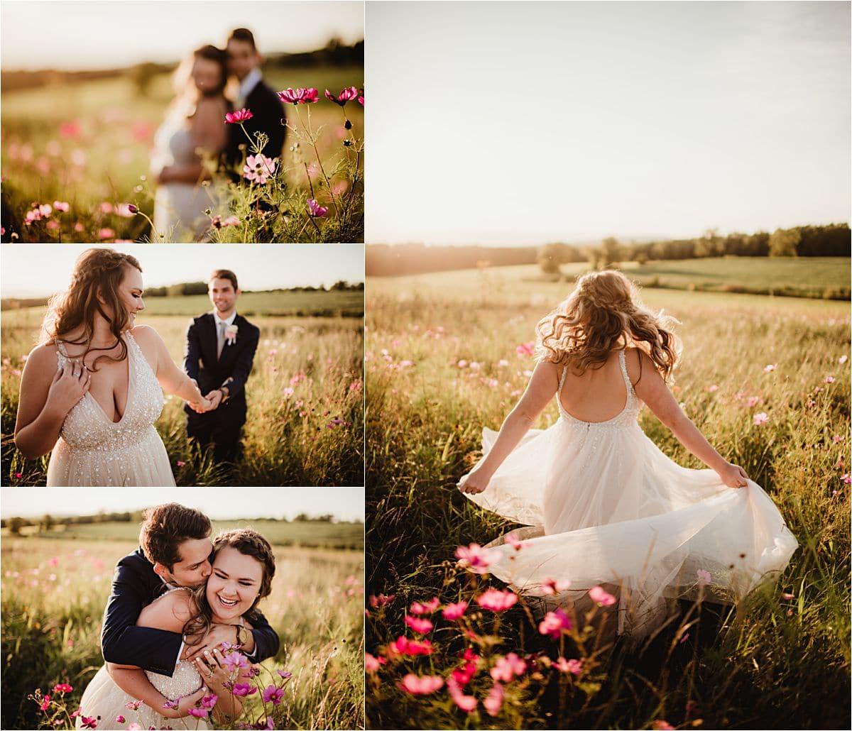 Rural Summer Barn Wedding Couple in Flower Field Sunset