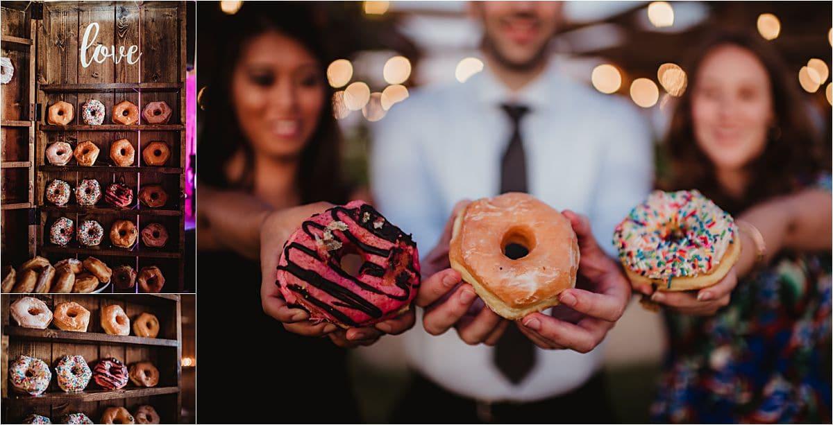 Rural Summer Barn Wedding Reception Donuts