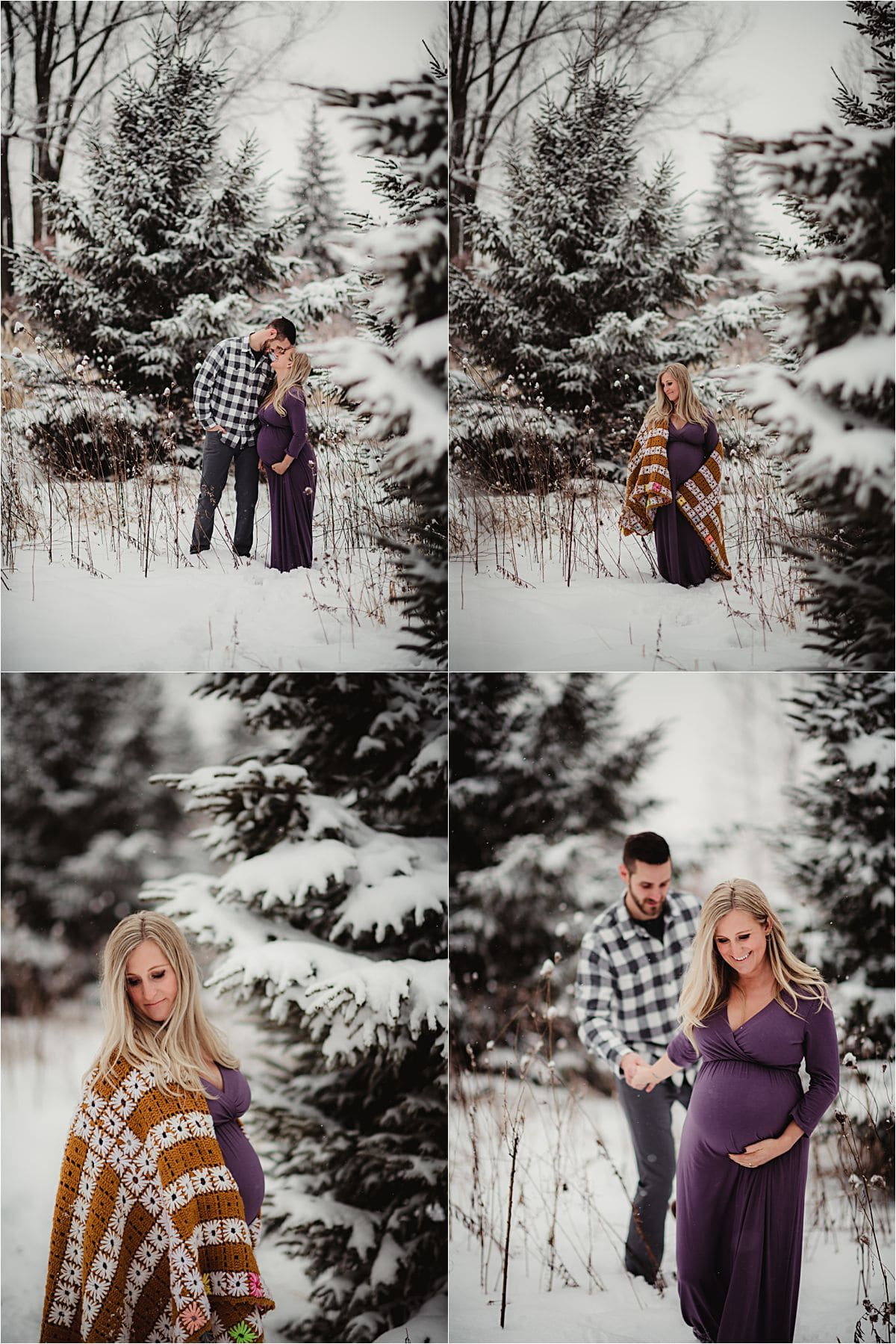 Winter Maternity Session Couple in Snow