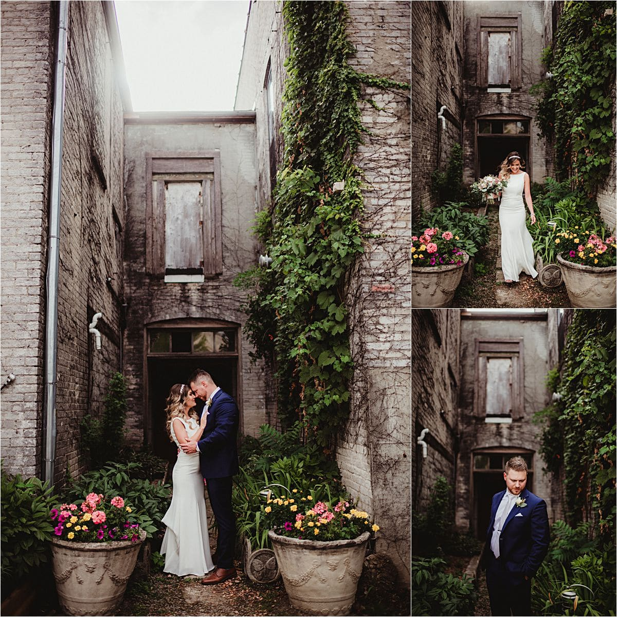 Bride and Groom in Stone Alley