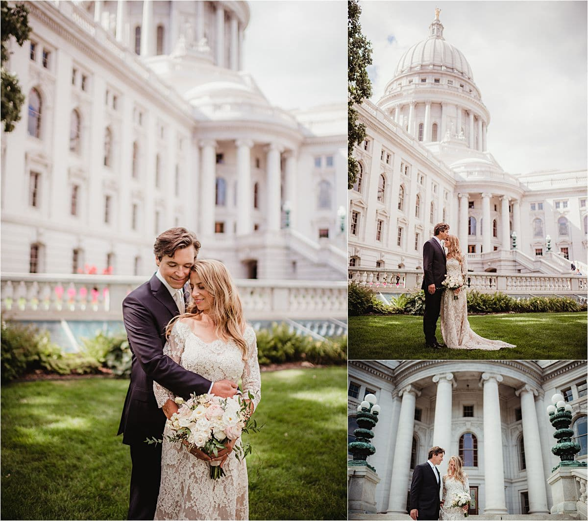 Wisconsin Summer Wedding Bride and Groom Outside State Capital