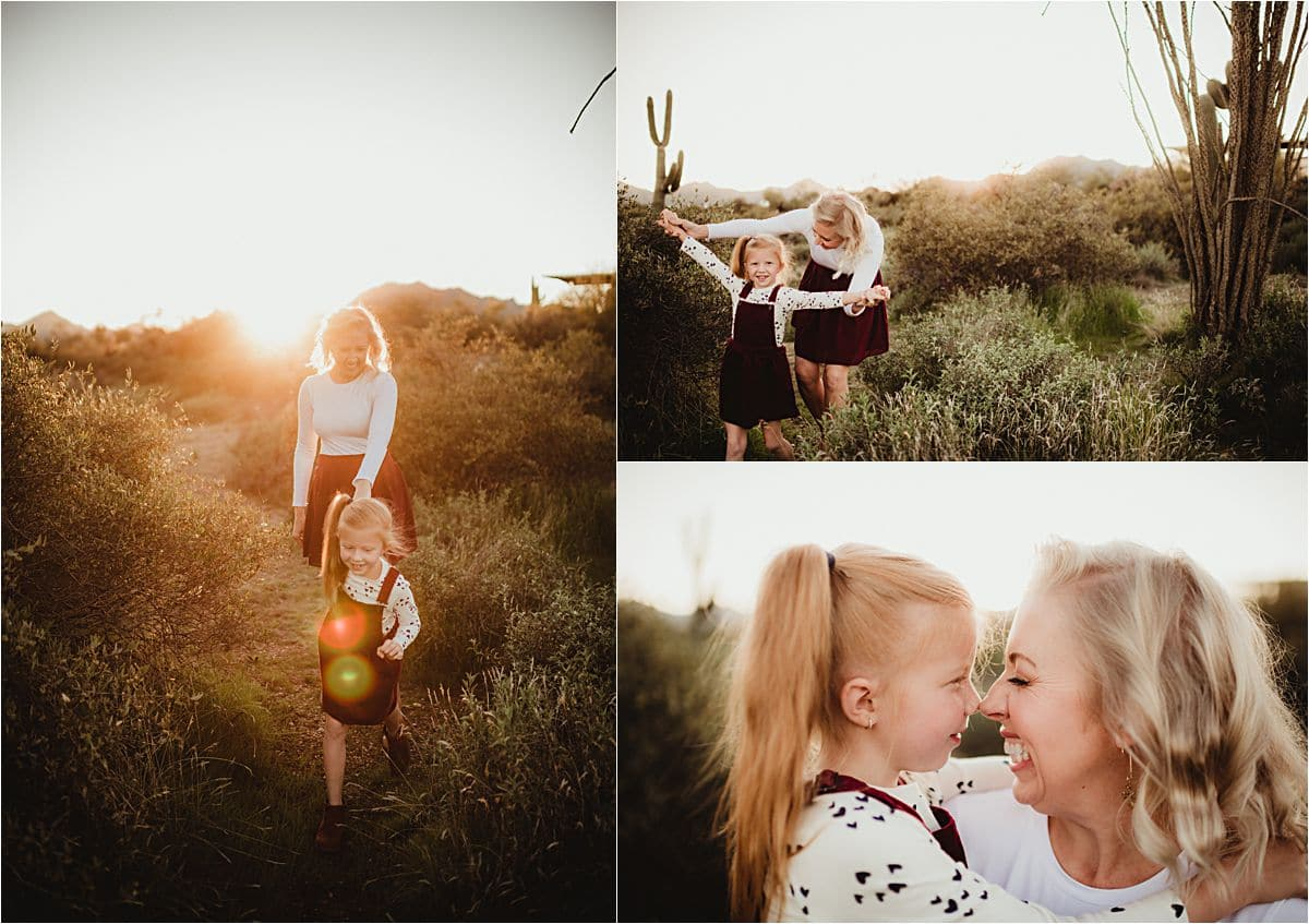 Family Desert Sunset Session Mama and Daughter