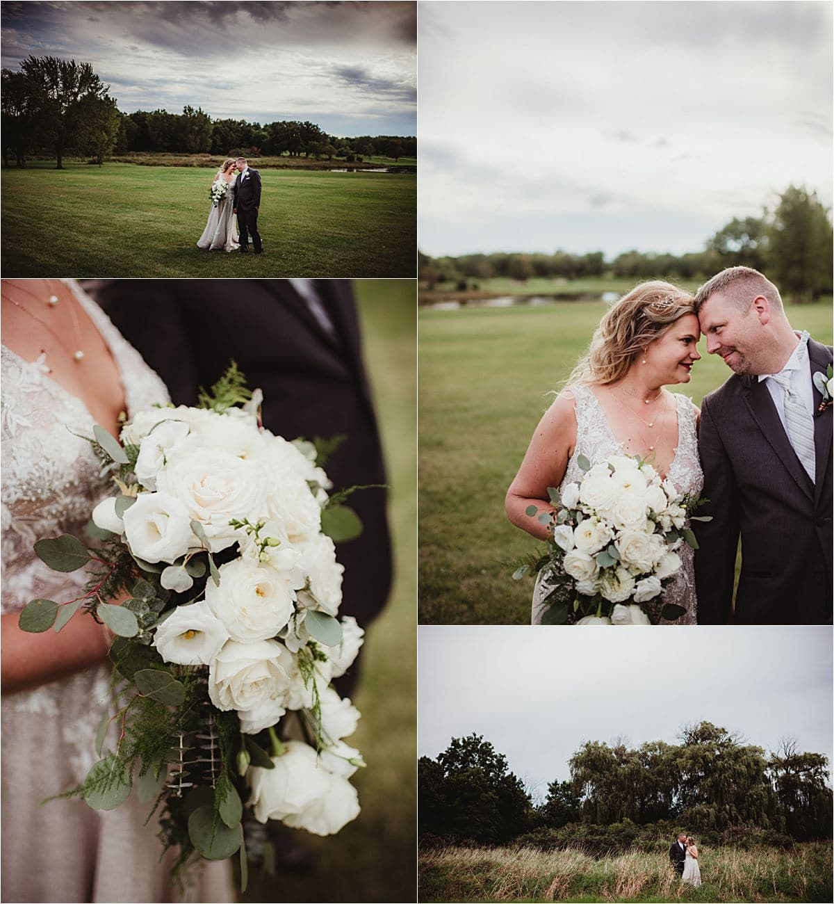 Country Club Wedding Bride and Groom Florals