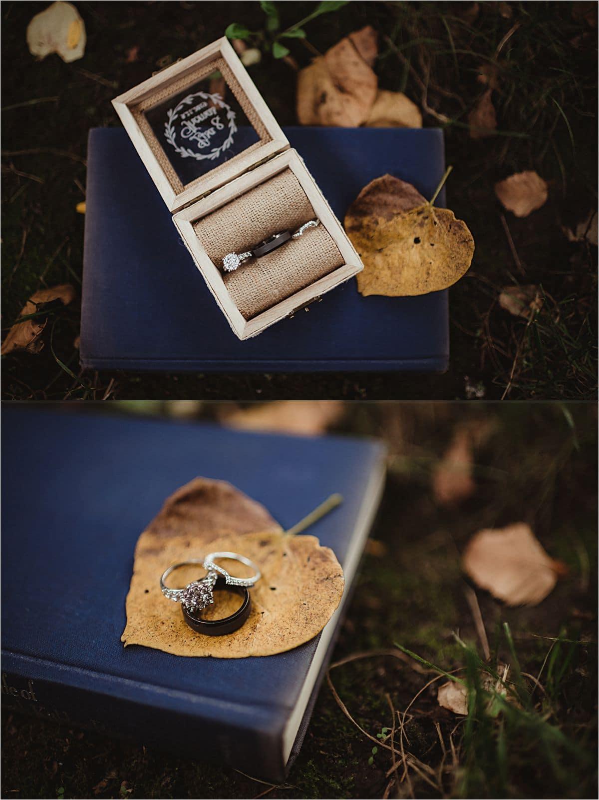 Rainy Fall Wedding Ring Details