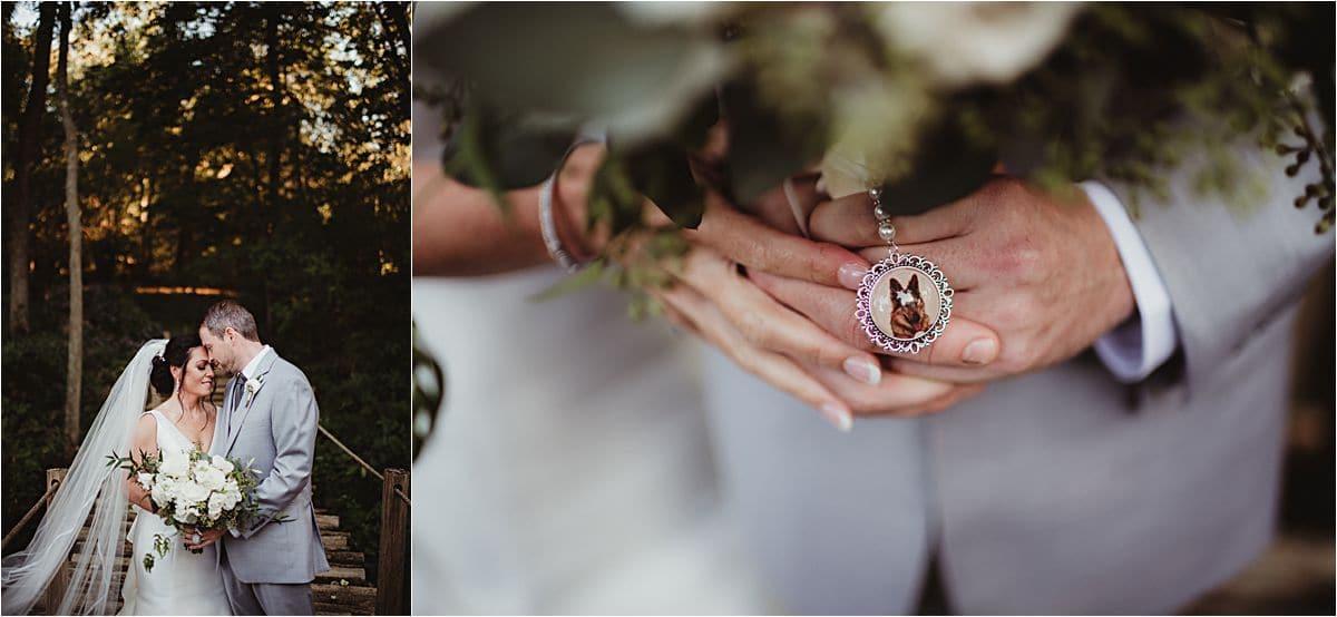 Close Up Dog Charm on Bride Bouquet