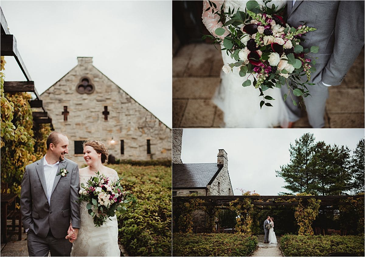 Bride and Groom Outside by Stone Building