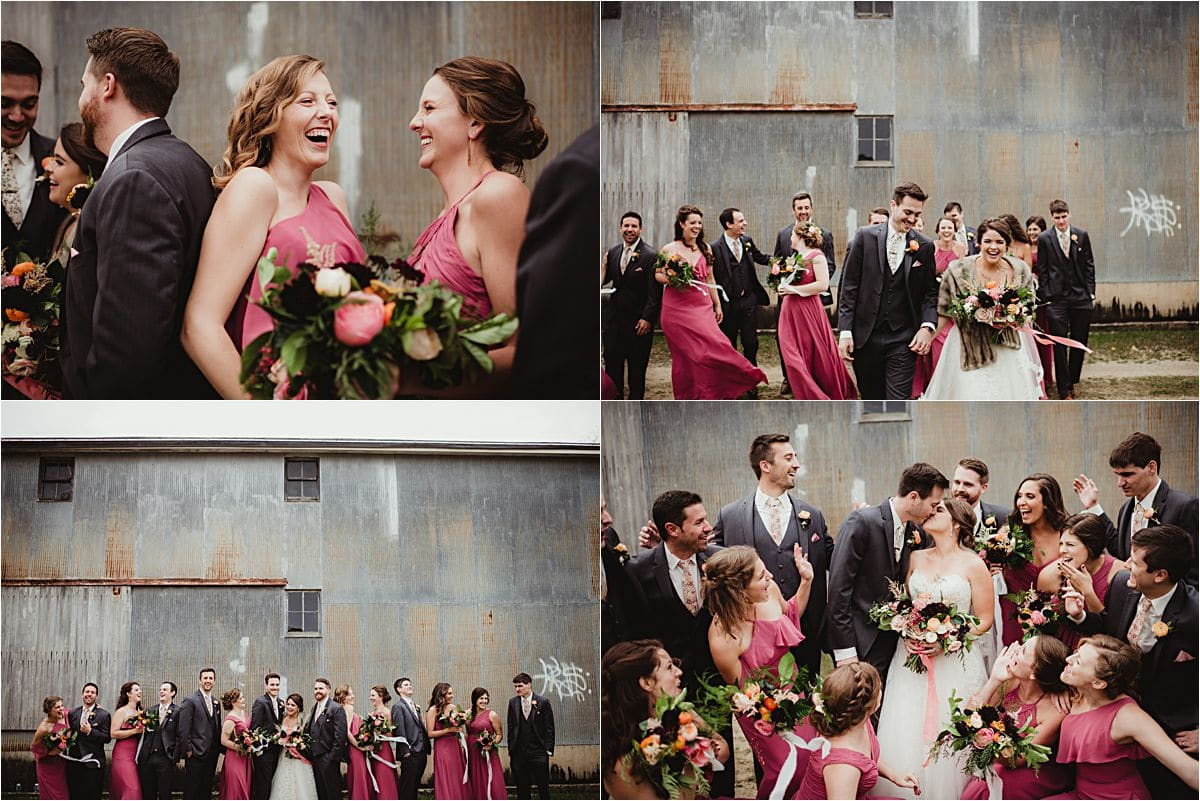 Rustic Fall Wedding Party Laughing