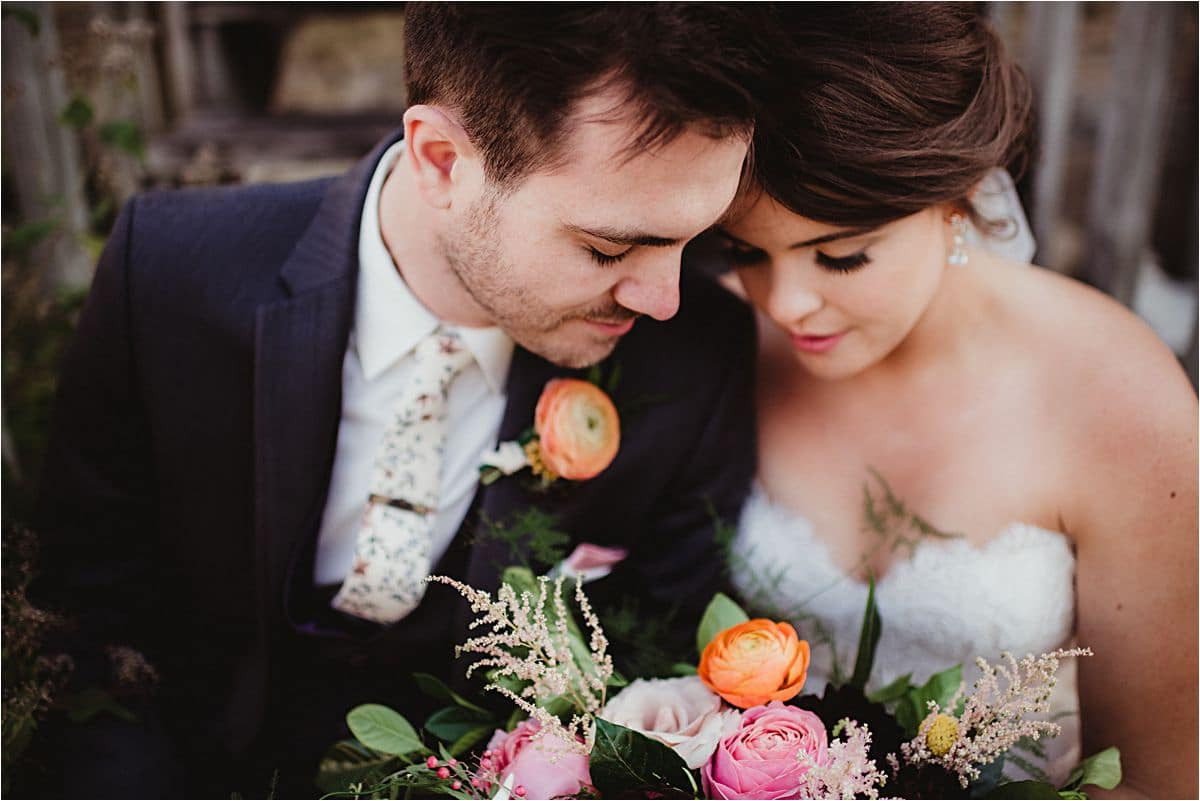Rustic Fall Wedding Close Up Couple