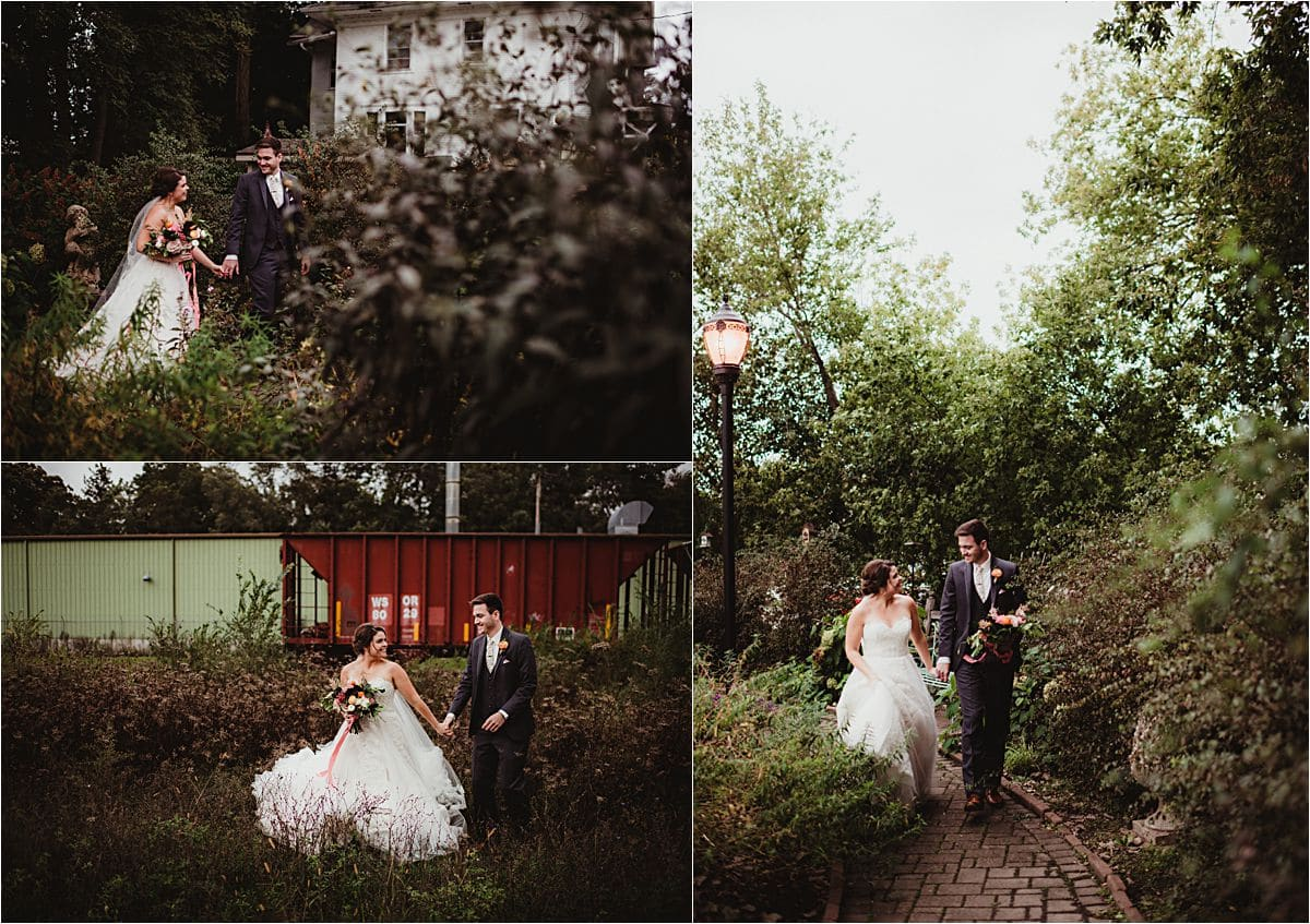 Rustic Fall Wedding Couple Outside